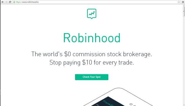 Robinhood webpage